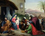 Adoration Painting Framed Prints - The Adoration of the Magi Framed Print by Jean Pierre Granger