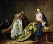 Nativity Painting Metal Prints - The Adoration of the Magi Metal Print by Pieter Fransz de Grebber
