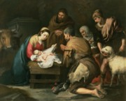Xmas Painting Prints - The Adoration of the Shepherds Print by Bartolome Esteban Murillo