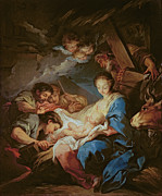 Christian Painting Framed Prints - The Adoration of the Shepherds Framed Print by Charle van Loo