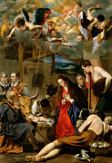 Kneeling Posters - The Adoration of the Shepherds Poster by Fray Juan Batista Maino or Mayno