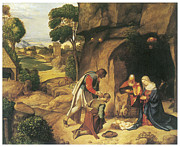 Religious Art Painting Posters - The Adoration of the Shepherds Poster by Giorgione