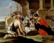 Nativity Paintings - The Adoration of the Shepherds by Louis Le Nain