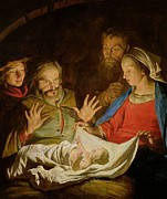 Adoration Of The Shepherds; Shepherd; Infant Jesus Christ; Baby; Child; Joseph; Virgin Mary; Madonna; Holy Family; Stable; Manger; Ox; Oxen; Straw Posters - The Adoration of the Shepherds Poster by Matthias Stomer