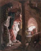 Gouache Metal Prints - The Adoration of the Wise Men Metal Print by Tissot