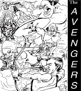 Hawkeye Drawings - The Advengers by Big Mike Roate