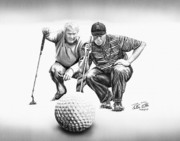Golf Drawings Posters - The Advisor LE Poster by Peter Piatt