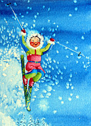 Kids Ski Chalet Illustrations Posters - The Aerial Skier 12 Poster by Hanne Lore Koehler