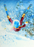 Skiing Art Painting Posters - The Aerial Skier - 14 Poster by Hanne Lore Koehler