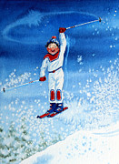 Kids Ski Chalet Illustrations Posters - The Aerial Skier 15 Poster by Hanne Lore Koehler