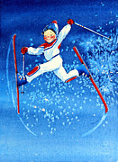 Skiing Art Painting Posters - The Aerial Skier 16 Poster by Hanne Lore Koehler