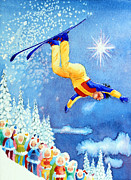 Kids Ski Chalet Illustrations Posters - The Aerial Skier 18 Poster by Hanne Lore Koehler