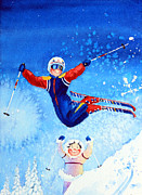 Kids Ski Chalet Illustrations Posters - The Aerial Skier 19 Poster by Hanne Lore Koehler