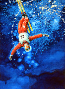Skiing Prints Painting Originals - The Aerial Skier 20 by Hanne Lore Koehler