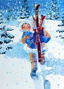 Kids Ski Chalet Illustrations Posters - The Aerial Skier - 3 Poster by Hanne Lore Koehler