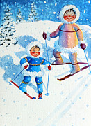 Kids Ski Chalet Illustrations Posters - The Aerial Skier - 6 Poster by Hanne Lore Koehler