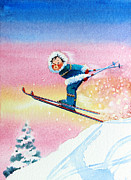 Skiing Art Painting Posters - The Aerial Skier - 7 Poster by Hanne Lore Koehler