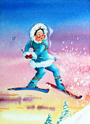 Skiing Art Painting Posters - The Aerial Skier - 8 Poster by Hanne Lore Koehler
