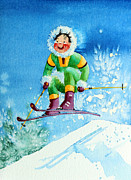 Kids Ski Chalet Illustrations Posters - The Aerial Skier - 9 Poster by Hanne Lore Koehler