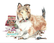 Collie Painting Framed Prints - The Aficiondo Framed Print by Debra Jones