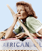 Films By John Huston Framed Prints - The African Queen, Katharine Hepburn Framed Print by Everett