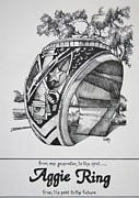 College Drawings Framed Prints - The Aggie Ring Framed Print by Barbara Gilroy