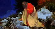 Spiritual Paintings - The agony of Jesus Christ by Valerie Anne Kelly