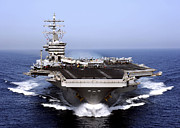 Navy Photo Framed Prints - The Aircraft Carrier Uss Dwight D Framed Print by Stocktrek Images