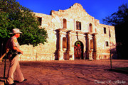 The Alamo Framed Prints - The Alamo and Ranger Framed Print by Thomas R Fletcher