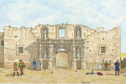 Bowie Mixed Media - The Alamo in 1836 by Wade Dillon