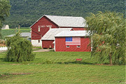 Red Barn Paintings - The All American Red Barn by Heinz Mielke