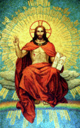 Jesus Prints Prints - The Alpha and Omega Print by Roman Mosaic