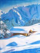 Snow Pastels - The alpine hut by Aymeric NOA