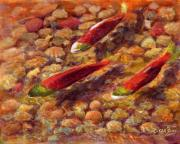Salmon Paintings - The Amazing Life Journey by Eileen  Fong