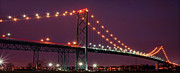 Ambassador Prints - The Ambassador Bridge at Night - USA To Canada Print by Gordon Dean II