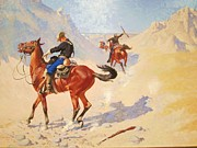 Remington Painting Prints - The Ambush and Wounded Print by Pg Reproductions