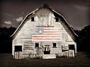 Flag Framed Prints - The American Farm Framed Print by Julie Hamilton