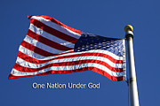 Flag Of Usa Posters - The American Flag Under God Poster by Linda Phelps