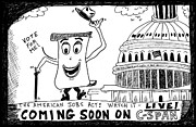 Laughzilla Drawings - The American Jobs Act on CSPAN by Yasha Harari