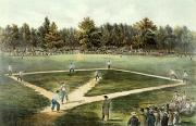 Baseball Fields Metal Prints - The American National Game of Baseball Grand Match at Elysian Fields Metal Print by Currier and Ives