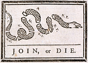 1750s Posters - The American Revolution, Join Or Die Poster by Everett