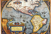 Antique Map Digital Art Framed Prints - The Americas, 1587 Map By Abraham Ortelius Framed Print by Fototeca Storica Nazionale