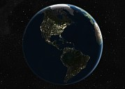 America The Continent Prints - The Americas At Night, Satellite Image Print by Planetobserver