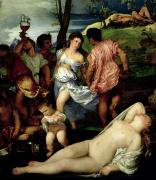 Reclining Female Nude Posters - The Andrians Poster by Titian