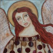 Religious Art Mixed Media Framed Prints - The Angel of Hope Framed Print by Rain Ririn