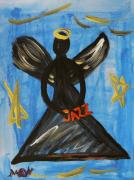 Angel Blues Drawings - The Angel of Jazz by Mary Carol Williams