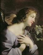 Archangel Gabriel Posters - The Angel of the Annunciation Poster by Giovanni Francesco Romanelli