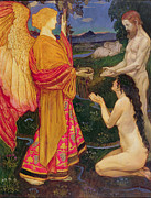 Man And Woman Posters - The Angel offering the fruits of the Garden of Eden to Adam and Eve Poster by JBL Shaw
