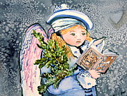 Snow Mixed Media Originals - The Angel Sings by Mindy Newman