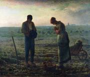 Couple Painting Framed Prints - The Angelus Framed Print by Jean-Francois Millet